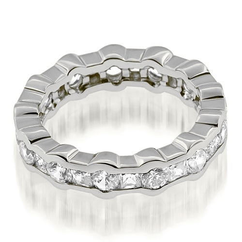 2.50 cttw. 14K White Gold Stylish Channel Round Princess Diamond Eternity Band