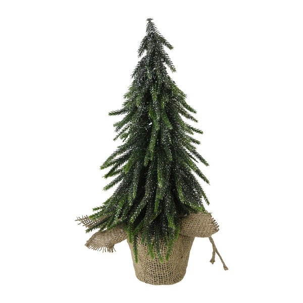 "14"" Silver Glitter Weeping Mini Pine Christmas Tree in Burlap Covered Vase - N/A"