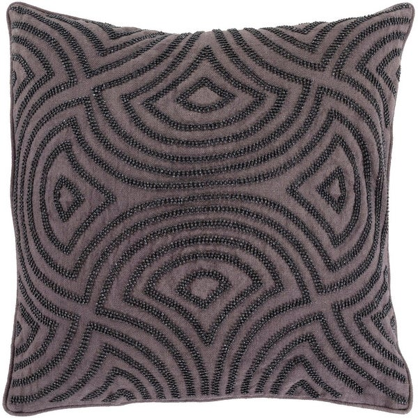 "22"" Black and Charcoal Decorative Square Throw Pillow - Down Filler"