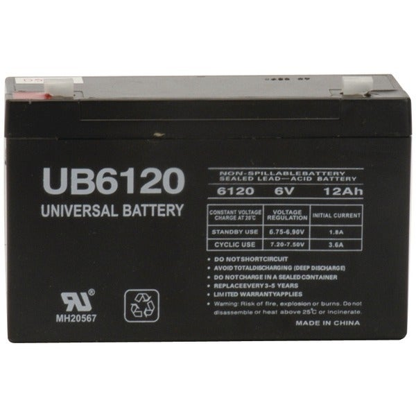 Upg 85992/D5736 Sealed Lead Acid Batteries (6V; 12Ah; .187 Tab Terminals; Ub6120)