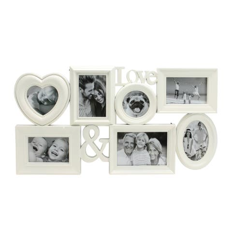 """26.5"""" White Multi-Sized Love Collage Picture Frame Wall Decor - 4-inchx6-inch"""