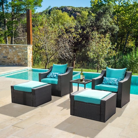 5 Pieces Wicker Patio Furniture Sets Rattan Outdoor Patio Chairs