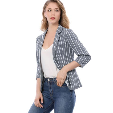 Unique Bargains Women Striped 3/4 Sleeves Open Front Notched Lapel Blazer