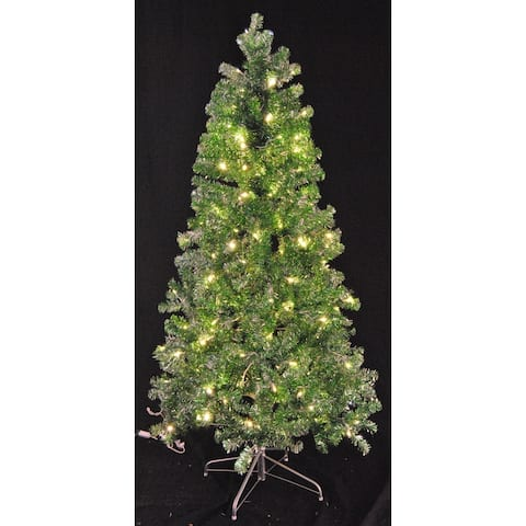 Christmas at Winterland WL-TTR-06-GR/SLV-LWW 6 Foot Tinsel Pre-Lit Christmas Tree Warm White LED Green and Silver - Warm White