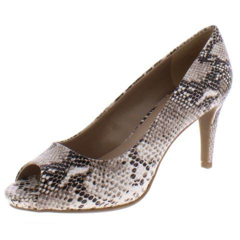 Bandolino Womens Rainaa Pumps Faux Leather Snake Print - Pewter