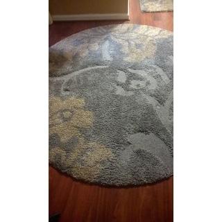 Safavieh Florida Shag Dark Grey/ Beige Floral Round Rug (6' 7 Round)