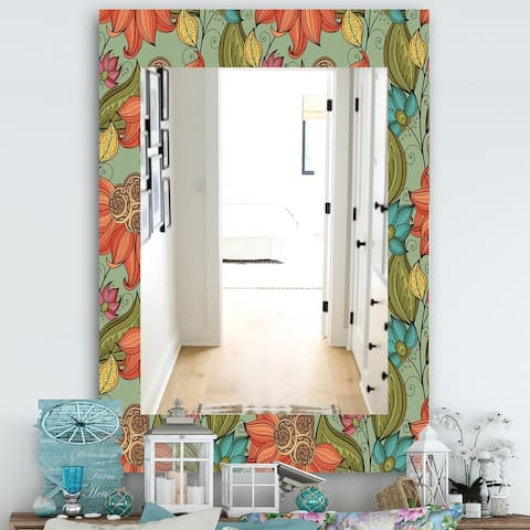 Designart 'Colorful Floral Pattern I' Bohemian and Eclectic Mirror - Modern Wall Mirror