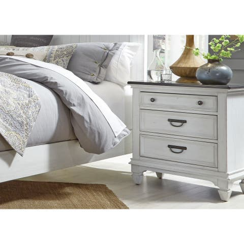 Copper Grove Aubervilliers Wire-brushed White Nightstand