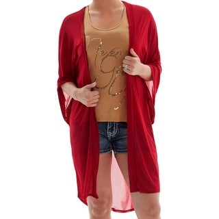Cowgirl Tuff Western Sweater Womens S/S Sheer Mid Thigh Red 100040