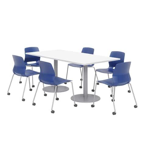 Olio Designs 6' x 3' Dining Table Set, 6 Lola Caster Chairs, Designer White