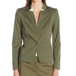 Nine West NEW Olive Green Women's Size 12 Notch Collar Seamed Jacket