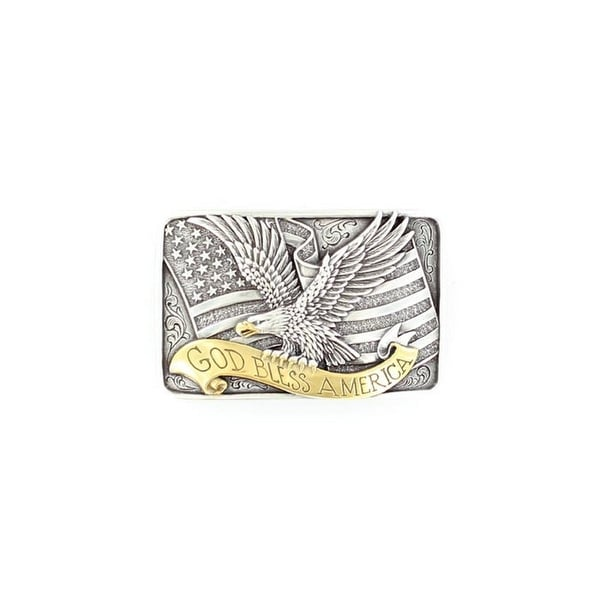 Nocona Western Belt Buckle God Bless America Silver - 2 x 3