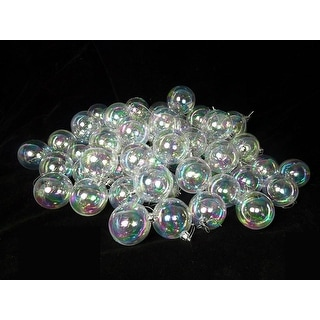 "60ct Clear Iridescent Shatterproof Christmas Ball Ornaments 2.5"" (60mm)"