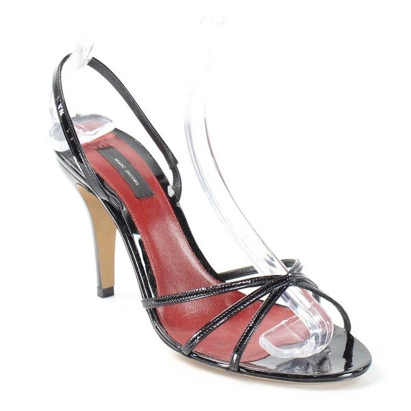 Marc Jacobs NEW Black Shoes 9.5M Slingback Patent Leather Sandals