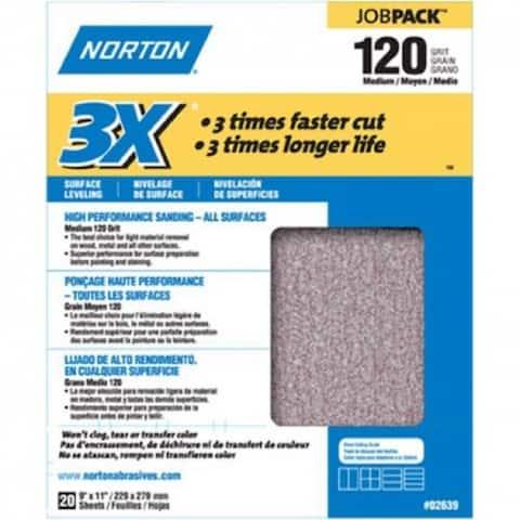 "Norton 02639 Aluminum Oxide Sandpaper, 9"" x 11"", 120 Grit"