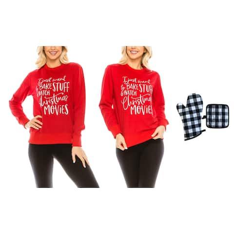 Women's Christmas Baking Theme Sweatshirt with Oven Mitt and Potholder