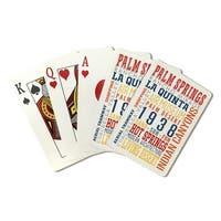 Palm Springs CA Typography Multi-Color - LP Arwork (Poker Playing Cards Deck)