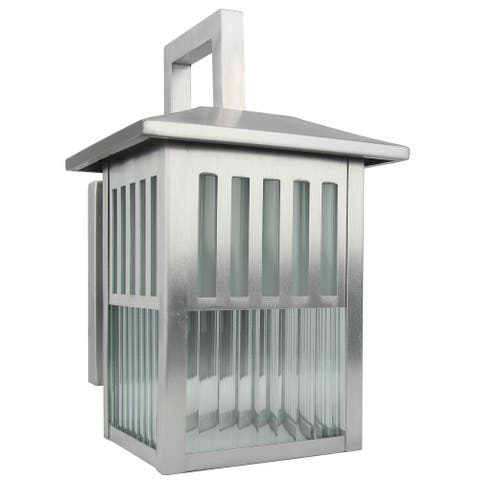 1 Light outdoor wall lamp with Clear Ribbed Glass in Satin Nickel Finish