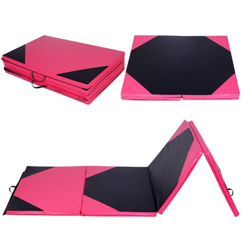 """Costway 4'x10'x2"""" Thick Folding Panel Gymnastics Mat Gym Fitness Exercise Pink/black"""