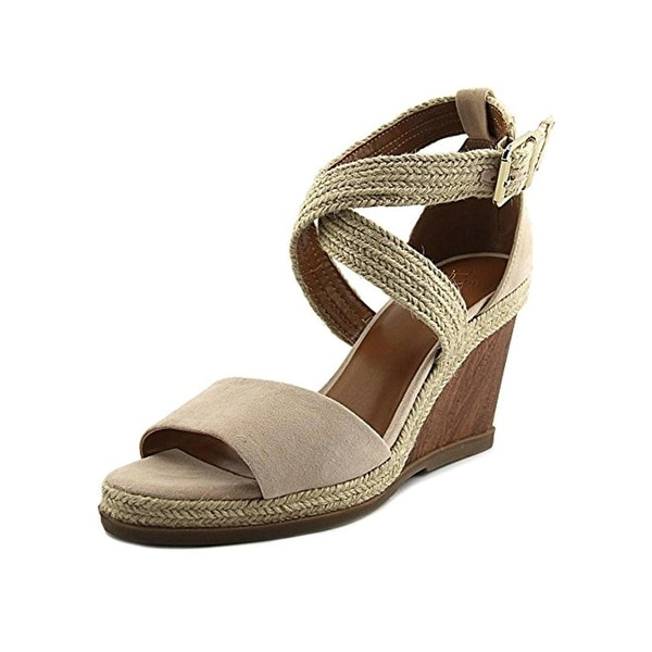 H Halston Womens Jane Wedge Sandals Suede Espadrille