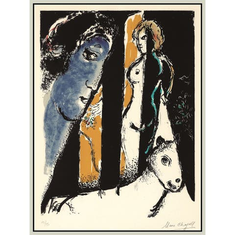 """Night by Marc Chagall Giclee Print Oil Painting Silver Frame Size 12"""" x 16"""""""