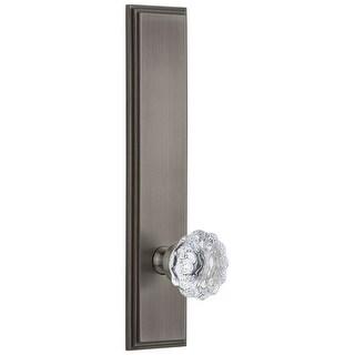 Grandeur CARFON_TP_PRV_238_LH  Carre Solid Brass Tall Plate Rose Left Handed Privacy Door Knob Set with Fontainebleau Knob and