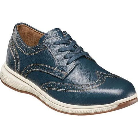 Florsheim Boys' Great Lakes Wingtip Lace Up Oxford Navy Leather