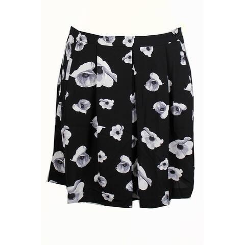 Cece Black White Floral Print Pleated Skirt 10