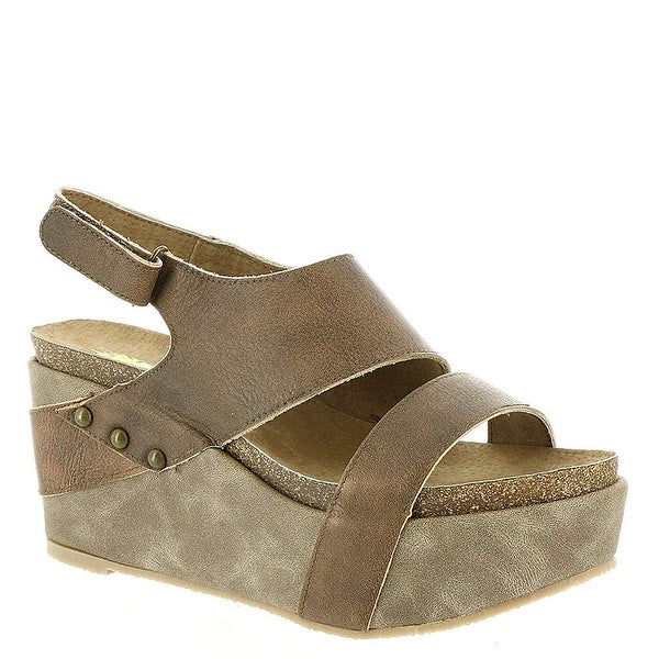 Volatile Womens Avril Leather Open Toe Special Occasion Platform Sandals