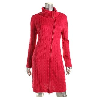 Calvin Klein Womens Cable Knit Cowl Neck Sweaterdress