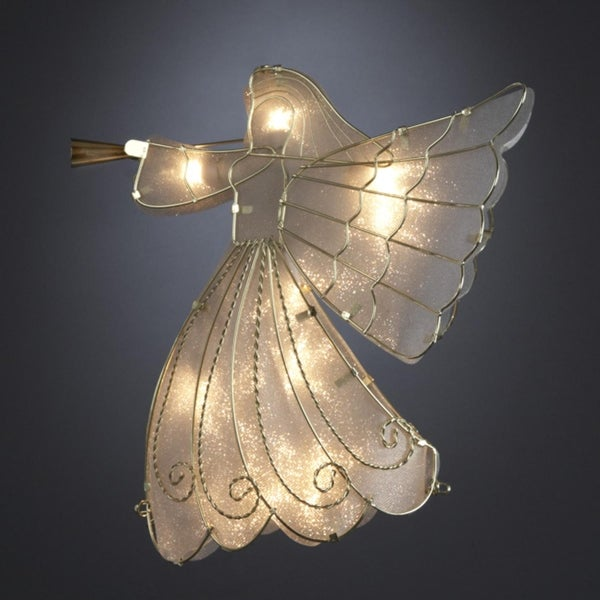 white capiz shell and gold angel christmas tree topper clear lights