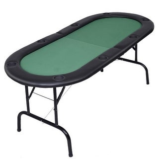 Costway Foldable 8 Player Poker Table Casino Texas Holdem Folding Poker Play Table - Green