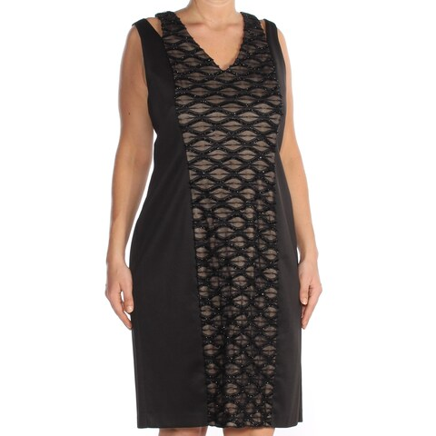 CONNECTED Womens Black Textured Sleeveless V Neck Above The Knee Fit + Flare Cocktail Dress Size: 14