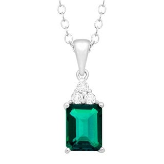 1 1/2 ct Created Emerald & White Topaz Pendant in Sterling Silver - Green
