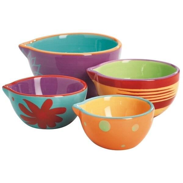 Anchor Hocking 92179 Nesting Decorated Prep Bowl Set, 4 Piece, Ceramic