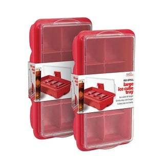 No Spill Ice Cube Tray 2 - Covered Lid Design - Red