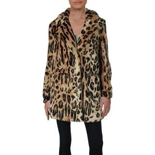Apparis Womens Margot Faux Fur Coat Animal Print Mid-Length