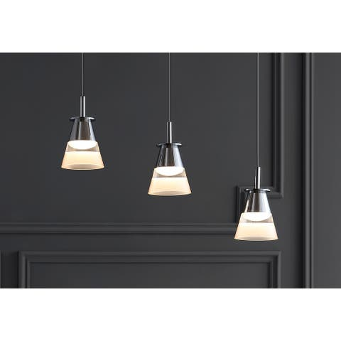 """Alain 19.5"""" 3-Light Cascading Integrated LED Cluster Pendant by JONATHAN Y"""