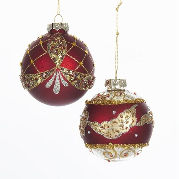 Pack of 6 Red and Gold Colored Baroque Ball Glass Christmas Ornaments 3.14
