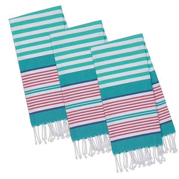 "Set of 3 White and Green Beachy Aqua Stripes Fouta Towels with Fringe 20"" x 30"""