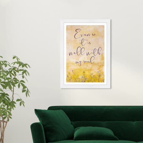 Wynwood Studio 'Well With My Soul' Typography and Quotes Yellow Wall Art Framed Print