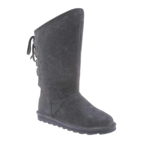 Bearpaw Women's Phyllly Ghillie Lace Boot Charcoal Cow Suede