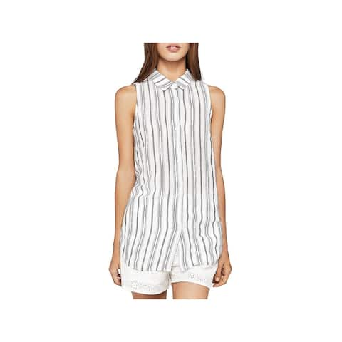 BCBGeneration Womens Button-Down Top Striped Lace-Up