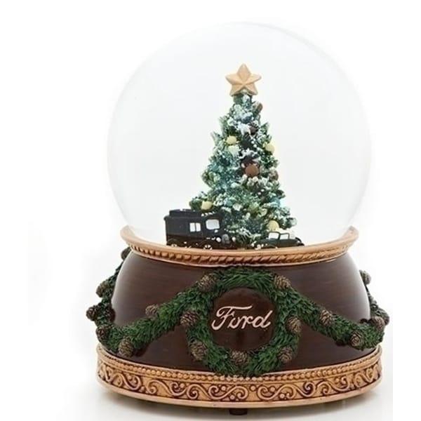 "1926 Ford Model T Truck / 1932 V8 Christmas Musical Glitterdome 6.75"" - brown"