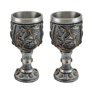 Set of 2 Steampunk Dragon and Gears Goblets w/Stainless Steel Liner