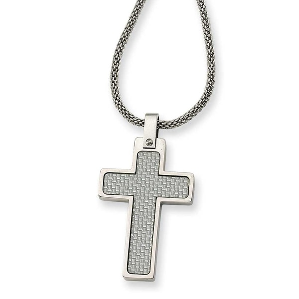 Chisel Stainless Steel Cross Pendant Necklace (2 mm) - 20 in