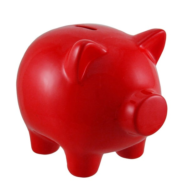 Fire Red Portly Pig Ceramic Coin Bank - 6.25 X 7 X 5.25 inches