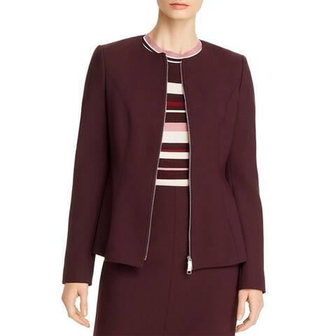 BOSS Hugo Boss Womens Collarless Blazer Peplum Office Wear - Dark Red