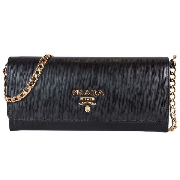 73b103be7d64 Prada 1BP290 Black Vitello Grain Leather Wallet on Chain Crossbody Bag