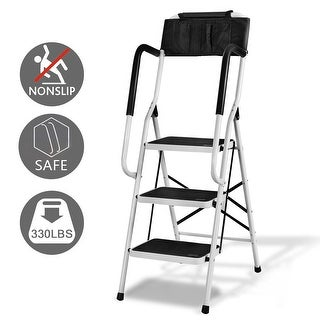 Costway 2 In 1 Non-slip 3 Step Ladder Folding Stool w/ Handrails and Tool Pouch Caddy